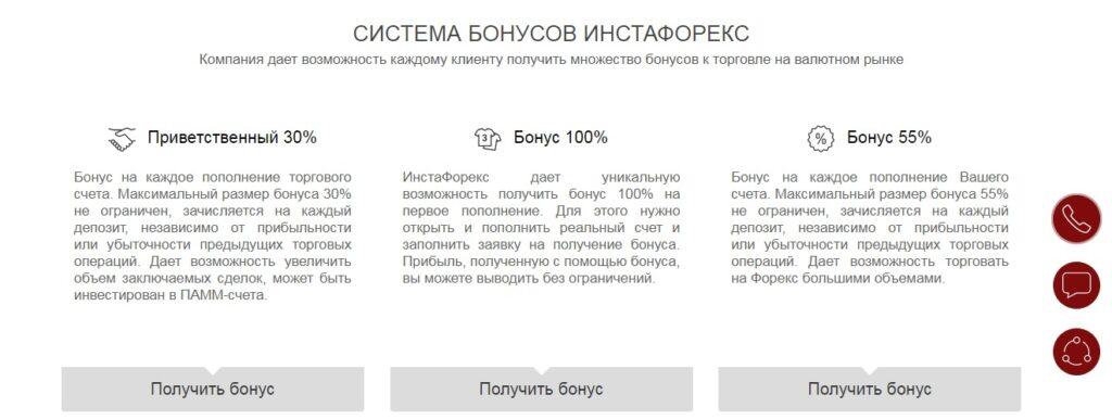 instaforex система бонусов