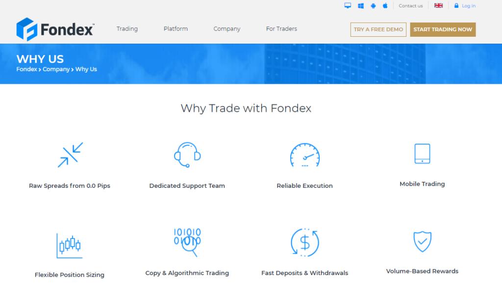 торговые условия брокера fondex